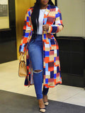 Turndown Collar Colorful Lattice Print Cardigan