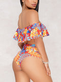 Print Flounced Two Pieces Swimwear