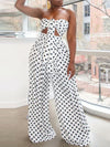 Polka Dot Knot Front Strapless Two Piece Sets