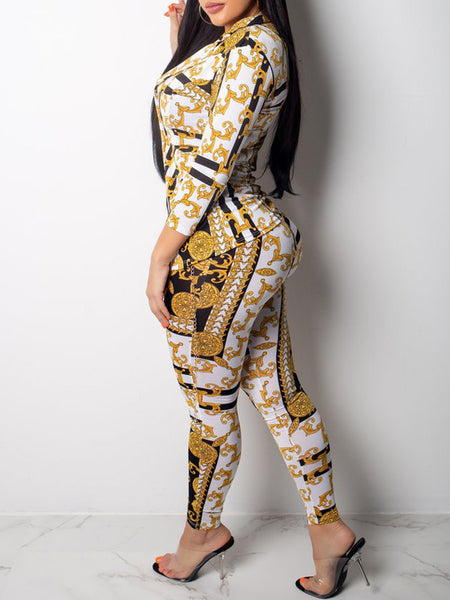 Fashion Sexy Print Long Sleeve Two-Piece Outfits