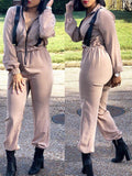 Solid Turndown Collar Long Sleeve Jumpsuit