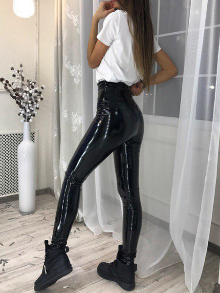 Sexy Solid High Waist PU Pants