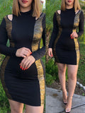 Sexy Hollow Out Patchwork Bodycon Mini Dress