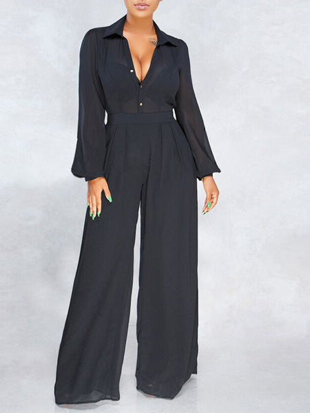Chiffon Solid Color High Waist Jumpsuit