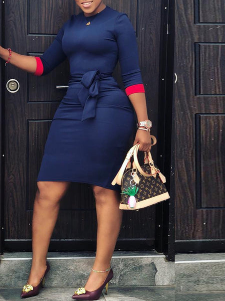 Casual Color Block Fashion Midi Dress