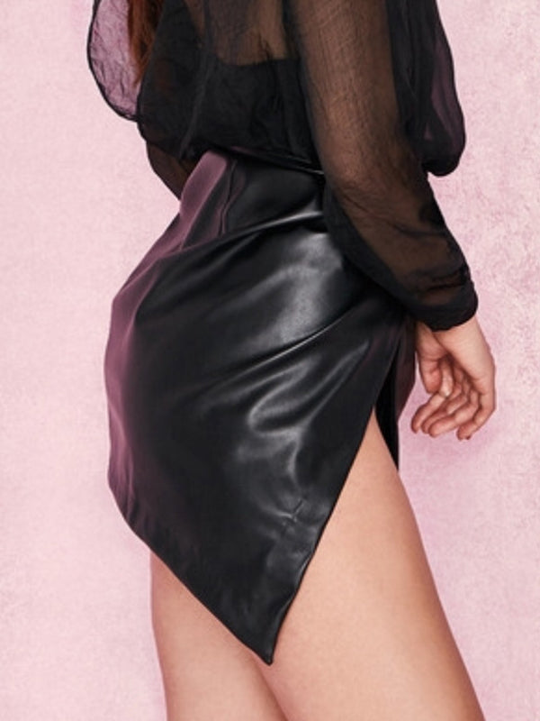 Leather Side Slit Solid Color Sexy Club Mini PU Skirt