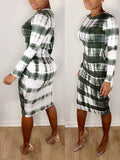Striped Tie Dye Long Sleeve Dress