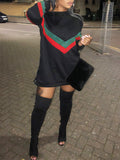 Geometric Red & Green Stripe Long Sleeve Sweatshirt Dress