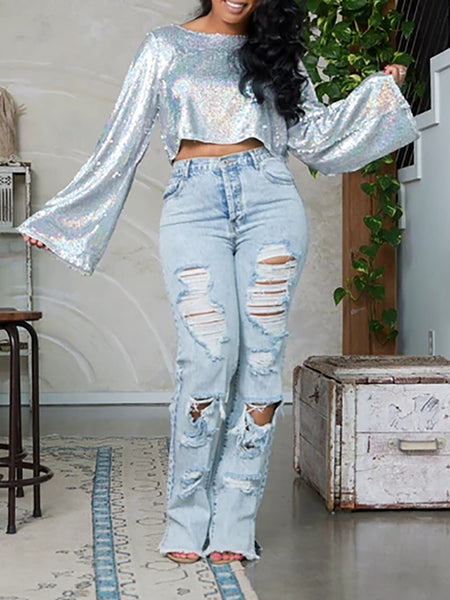 Solid Color Sequins Flared Sleeve Top