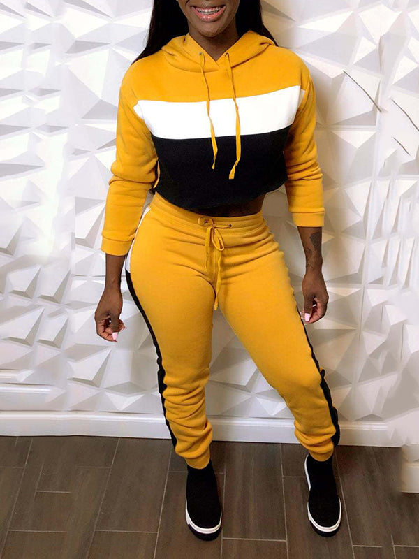 Color Block Hooded Two Piece Outfits