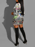 V-Neck Draped Newspaper Print Dress