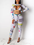 Newspaper Print Back Bandage Three Piece Sets