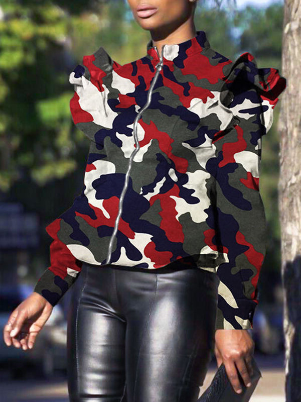 Ruffle Sleeve Camouflage Print Zipper Up Casual Jacket