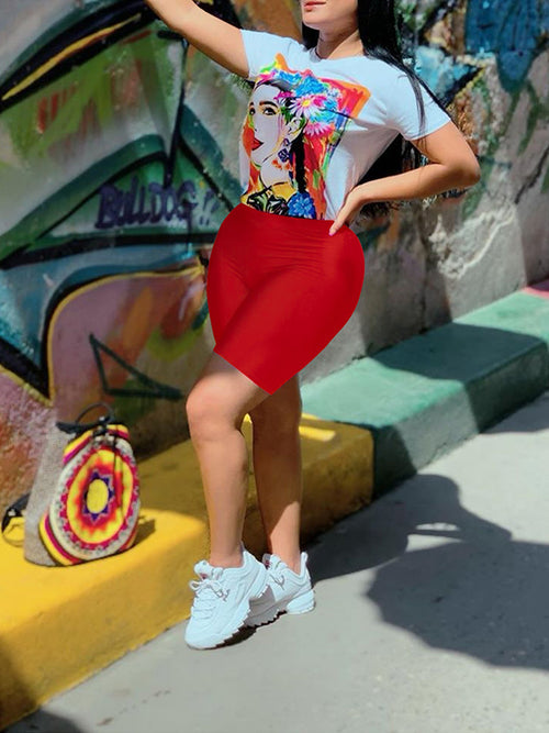 Cartoon Print Short Sleeve Top & Shorts