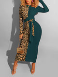 Long Sleeve Leopard Patchwork Dress With Belt
