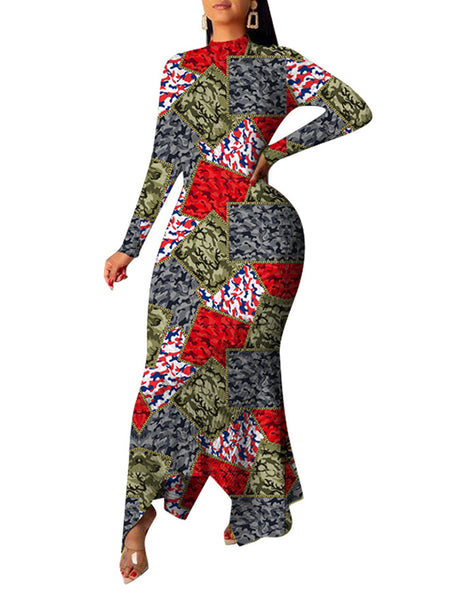Camouflage Patchwork Irregular Hem Maxi Dress