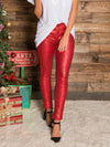 Christmas Sequined Solid Color Bodycon Party Pencil Pants