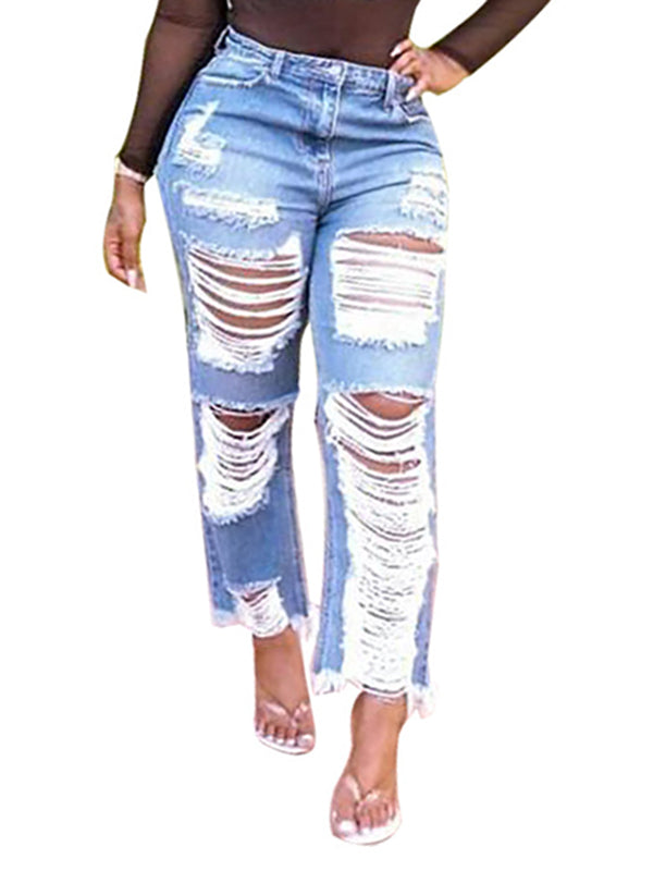 Denim Distressed Solid Color Pants