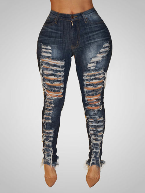 Denim Trendy High Waist Broken Holes Dark Blue Jeans