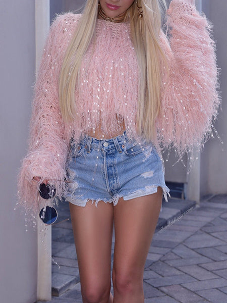 Solid Color Tassels Puff Sleeve Sweater