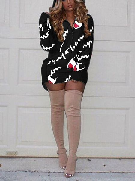 Long Sleeves Print Mini Dress