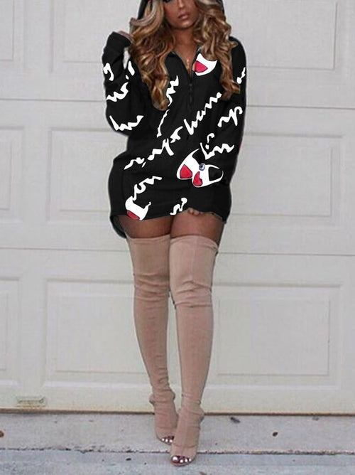 Print Long Hoodies Mini Dress