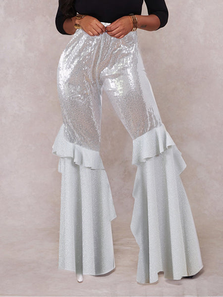 Flared Ruffled See-Through Pants