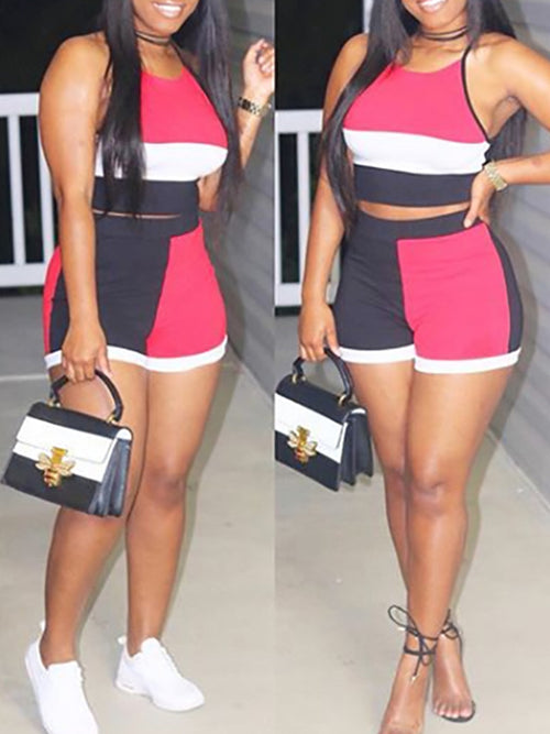 Color Block High Waist Two Piece Sets