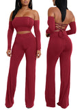 [Special Sale]Solid Off The Shoulder Long Sleeves Lace-up Two Pieces Pants Suit