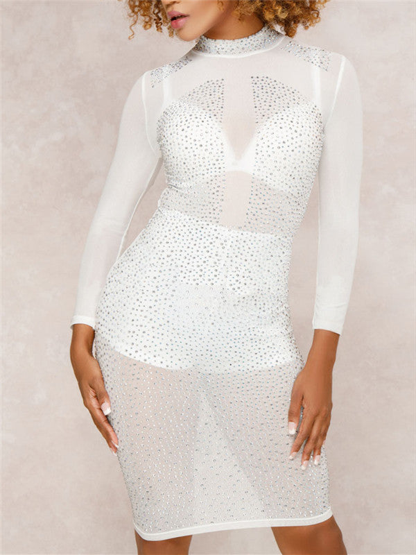 Semi Sheer Long Sleeve Rhinestone Mini Dress