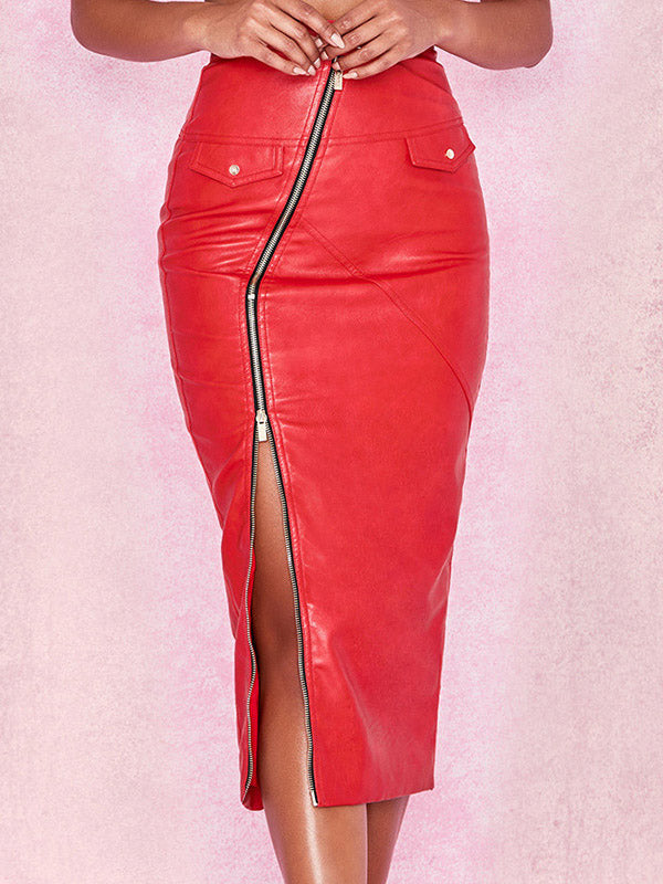 Leather Side Zipper Pocket Solid Color Bodycon Midi Skrit