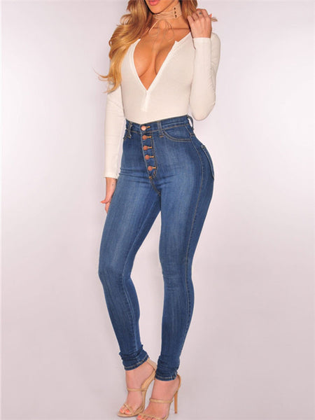 Button Up High Waist Pocket Skinny Jeans