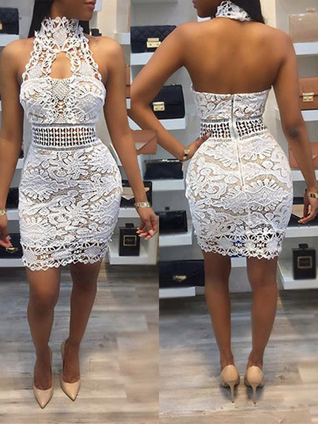 [Special Sale]Halter Lace Backless Midi Dress