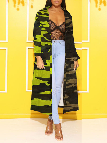 Camouflage Print Colorful Wide Lapel Coat