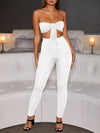 BowKnot Strapless Solid Color Top & Pants