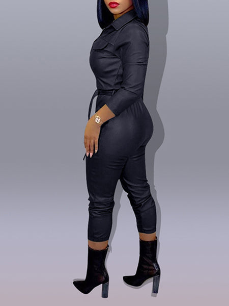 Leather Plus Size Turndown Collar PU Jumpsuit