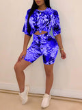 Tie Dye Knotted Half Sleeve Top & Shorts