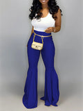 High Waist Leather Ruffled Solid Color Pants