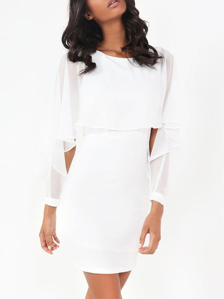 Solid Color Ruffle Sleeve Dress
