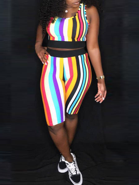 Fashion Stripe Print Sleeveless Two-Piece Outfits