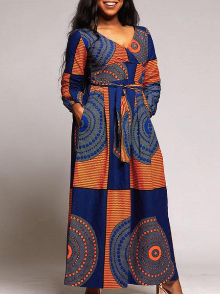 Casual Print V-neck Long Sleeves Maxi Dress