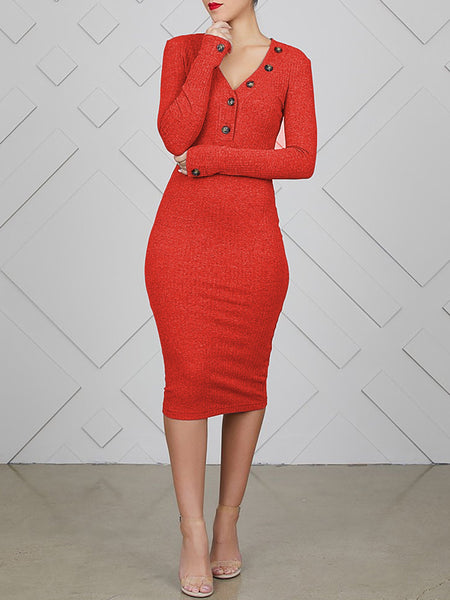 Solid V-neck Long Sleeve Midi Dress