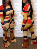 Rainbow Striped Rib Knotted Two Piece Sets