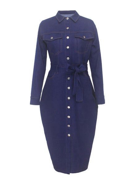 Plus Size Denim Slit Hem Belted Midi Dress