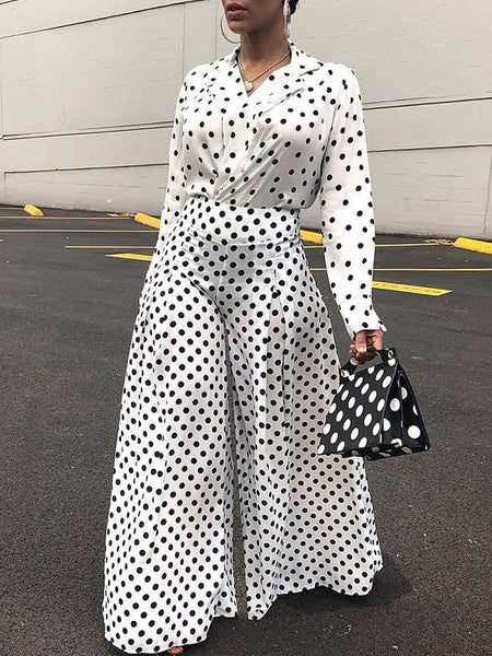 Fashion Polka Dot Long Sleeves Two-Piece Outfits
