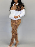 Leopard Print Zipper Collar Patchwork Two Piece Sets