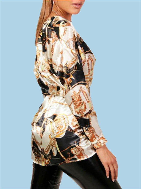 V Neck Long Sleeve Printed Blouse