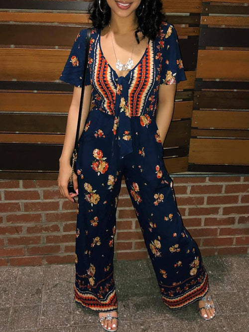 Casual Short Sleeves Print Jumpsuit