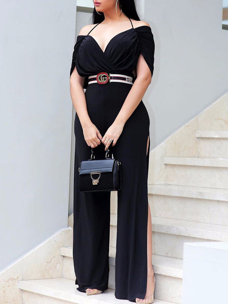 Side Slit Open Back Jumpsuit Without Belt