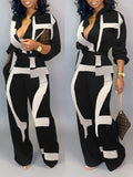 Turndown Collar Print Belted Jumpsuit